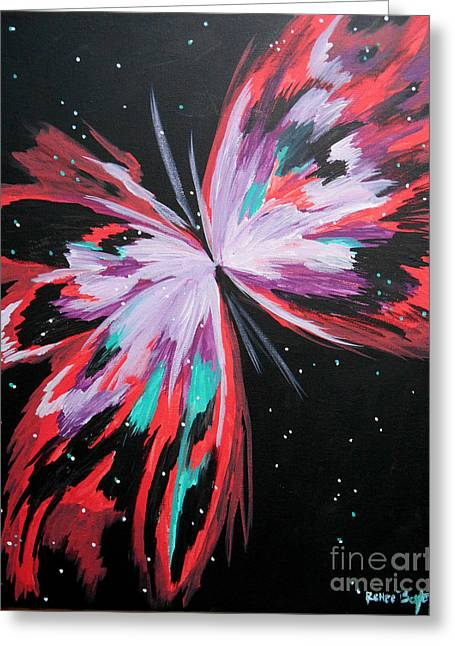 Outer Space Paintings Greeting Cards - Cosmic Butterfly Greeting Card by Renee Boyett