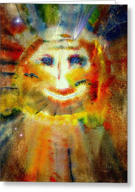 Macrocosm Greeting Cards - Cosmic Caricature Greeting Card by Kathy Bassett
