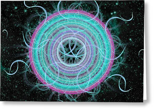 Fractal Art Greeting Cards - Cosmic Circle Greeting Card by Shawn Dall