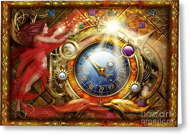 Astrological Greeting Cards - Cosmic Clock Greeting Card by Ciro Marchetti