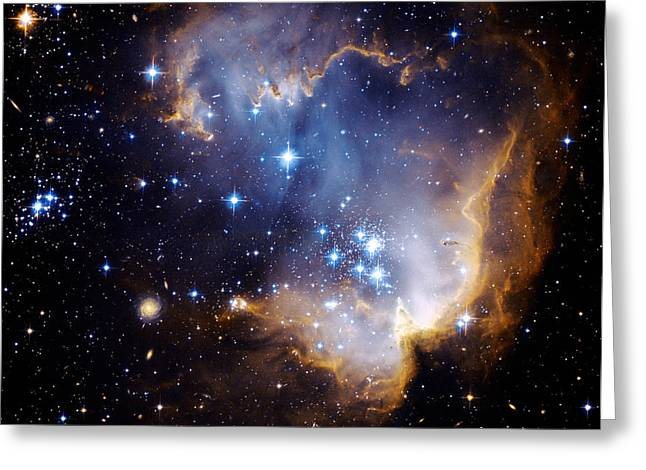 Galactic Paintings Greeting Cards - Cosmic Cloud  NGC602 Greeting Card by Celestial Images