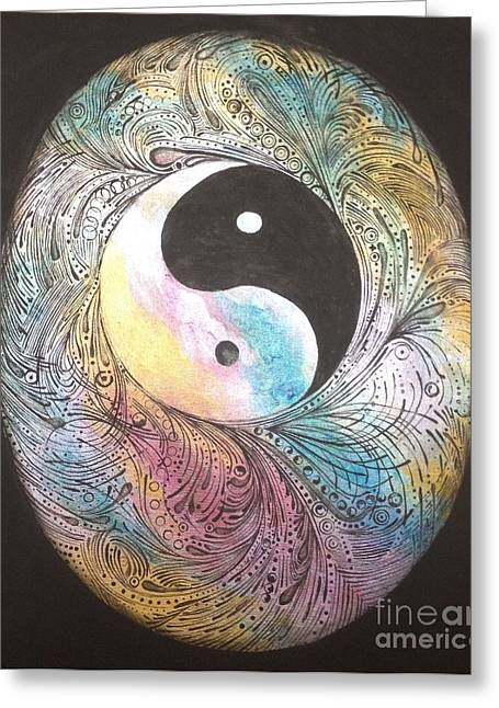 Ying Greeting Cards - Cosmic Conception Greeting Card by Karen Hamby