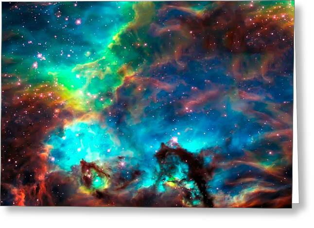The Hubble Telescope Photographs Greeting Cards - Cosmic Cradle 2 Star Cluster NGC 2074 Greeting Card by The  Vault - Jennifer Rondinelli Reilly