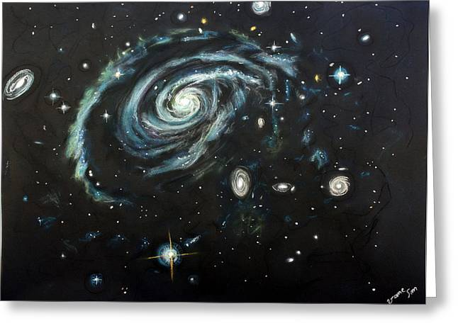 Astronomy Pastels Greeting Cards - Cosmic creativity Greeting Card by Vanessa Sancho