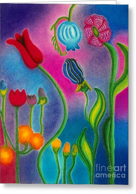 Blue Flowers Pastels Greeting Cards - Cosmic Gargen Greeting Card by Christine Perry