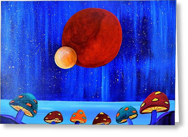 Outer Space Paintings Greeting Cards - Cosmic Gathering Greeting Card by Blanca Rosa