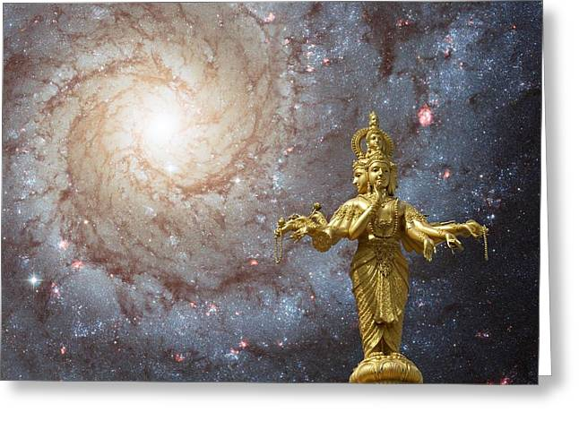 Hindu Goddess Digital Greeting Cards - Cosmic Hindu Divinity Greeting Card by Gregory Smith