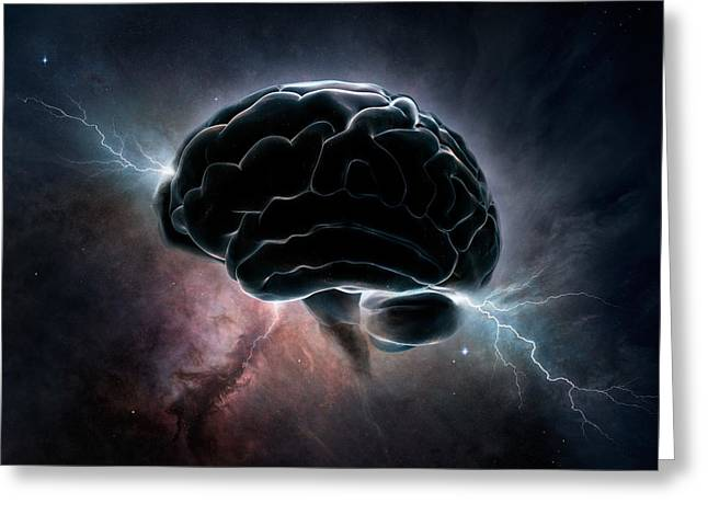 Images Lightning Greeting Cards - Cosmic Intelligence Greeting Card by Johan Swanepoel