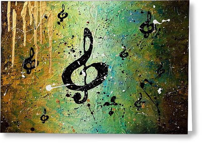 Guitar Greeting Cards - Cosmic Jam Greeting Card by Carmen Guedez