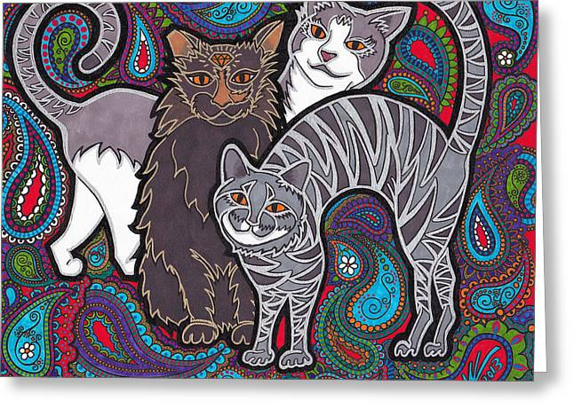 Gray Hair Drawings Greeting Cards - Cosmic Kittehs Greeting Card by Keri Costello