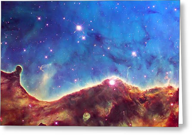 Constellations Greeting Cards - Cosmic Landscape  Greeting Card by The  Vault - Jennifer Rondinelli Reilly