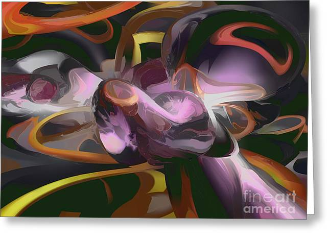 Images Lightning Digital Art Greeting Cards - Cosmic Lightning Pastel Abstract Greeting Card by Alexander Butler