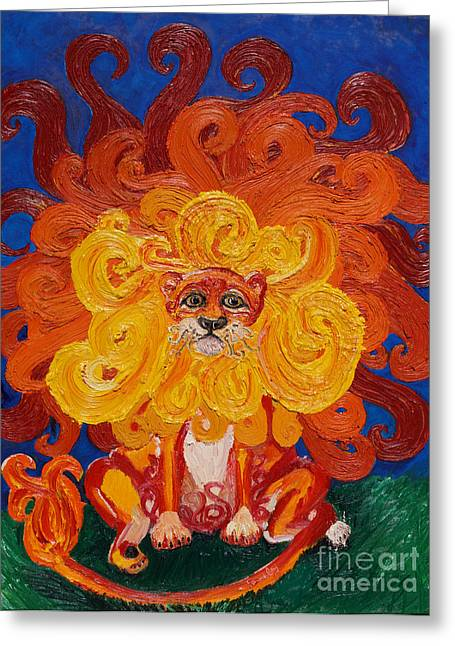Storybook Greeting Cards - Cosmic Lion Greeting Card by Cassandra Buckley