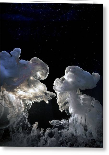 Angel With Star Greeting Cards - Cosmic Love Greeting Card by Petros Yiannakas