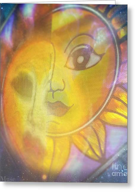 Merged Mixed Media Greeting Cards - Cosmic Merge Greeting Card by Sacred  Muse