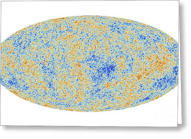 Asymmetrical Greeting Cards - Cosmic Microwave Background, Planck Image Greeting Card by European Space Agency,the Planck Collaboration
