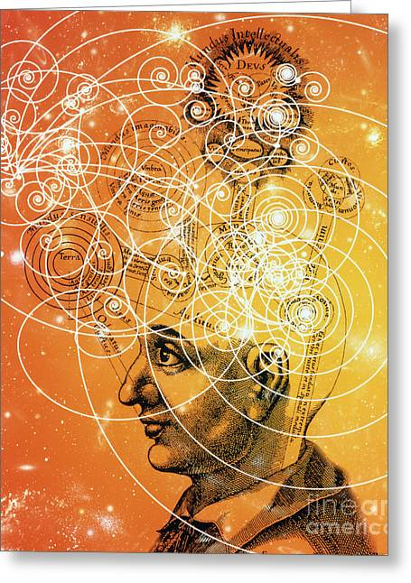 Cosmic Mind Greeting Card by M. Kulyk