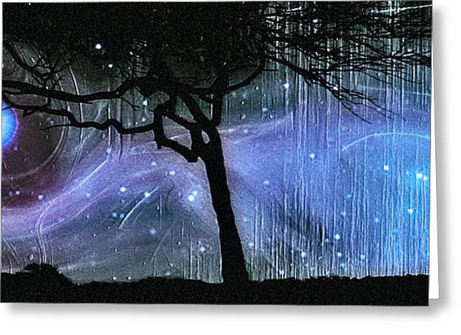 Good Energy Greeting Cards - Cosmic Night Greeting Card by Linda Sannuti