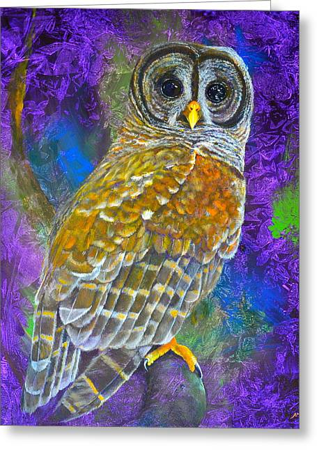 Cosmic Owl Greeting Card by AnnaJo Vahle