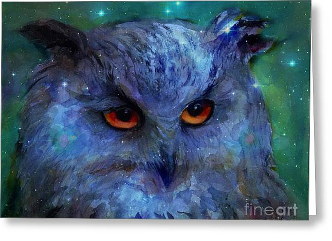 Svetlana Novikova Digital Art Greeting Cards - Cosmic Owl painting Greeting Card by Svetlana Novikova