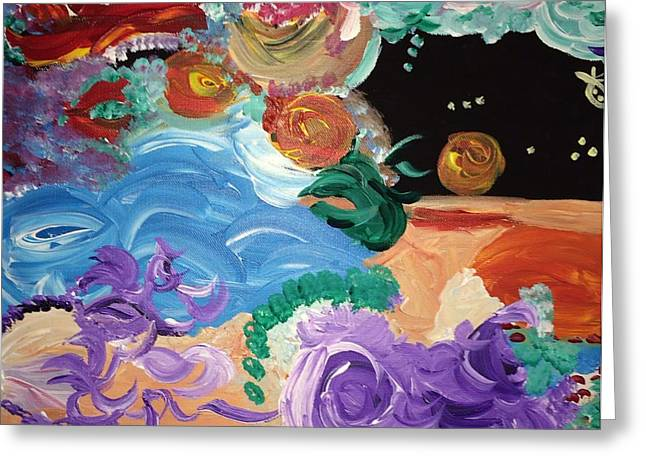 Cosmic Party People Greeting Card by Nicki La Rosa