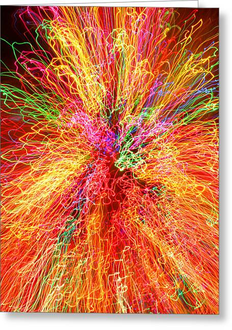 Cosmic Phenomenon Or Christmas Lights Greeting Card by Barbara West