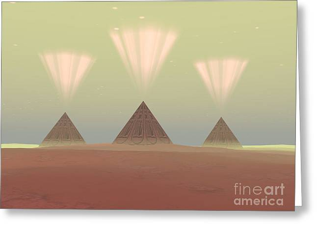 Pharaoh Greeting Cards - Cosmic Pyramids Greeting Card by Corey Ford
