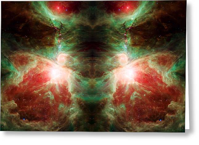 Cosmic Reflection - Stars And Orion's Sword  Greeting Card by The  Vault - Jennifer Rondinelli Reilly