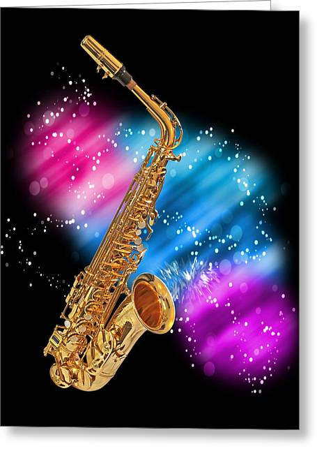 Legendary Music Singers Greeting Cards - Cosmic Sax Greeting Card by Gill Billington