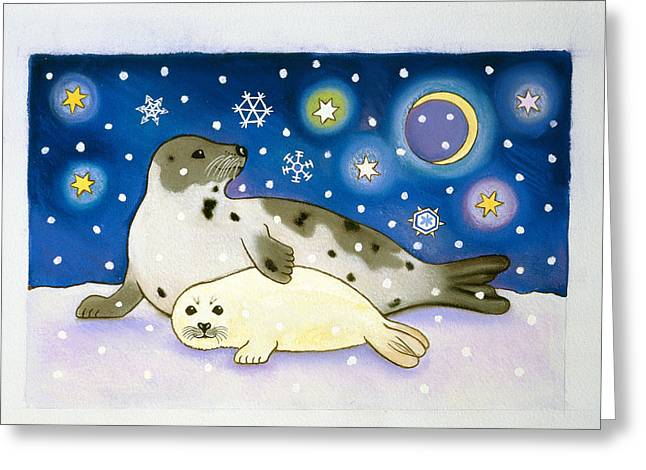 Winter Night Greeting Cards - Cosmic Seals, 1997 Pastel And Gouache On Paper Greeting Card by Cathy Baxter