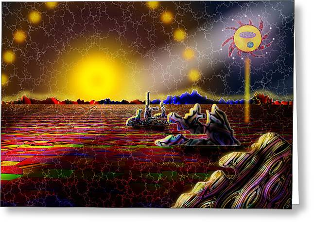 Cosmic Signpost Greeting Card by Melinda Fawver