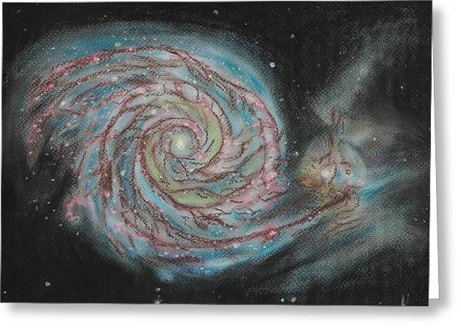 Astronomy Pastels Greeting Cards - Cosmic snail Greeting Card by Vanessa Sancho