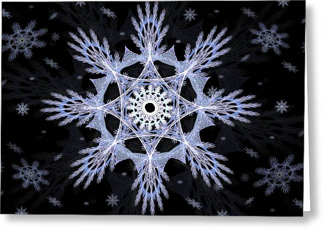 Fractal Art Greeting Cards - Cosmic Snowflakes Greeting Card by Shawn Dall