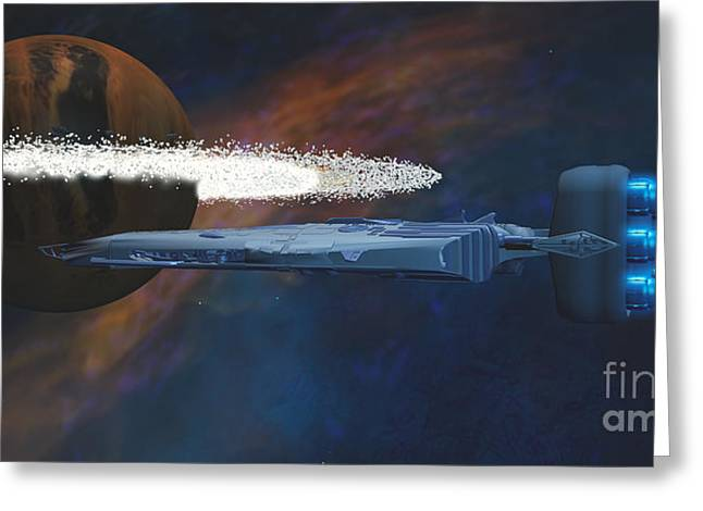 Jet Star Greeting Cards - Cosmic Spaceship Greeting Card by Corey Ford