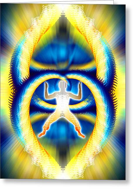 Ascension Mixed Media Greeting Cards - Cosmic Spiral Ascension 08 Greeting Card by Derek Gedney