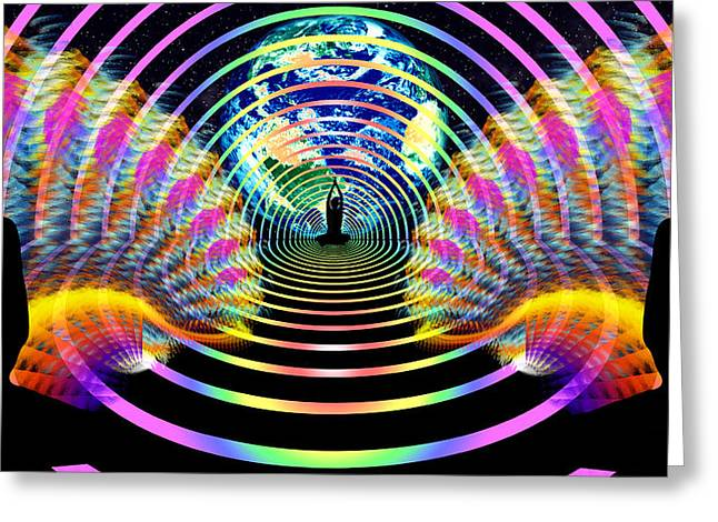 Ascension Mixed Media Greeting Cards - Cosmic Spiral Ascension 16 Greeting Card by Derek Gedney