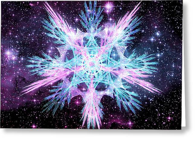 Fractal Art Greeting Cards - Cosmic Starflower Greeting Card by Shawn Dall