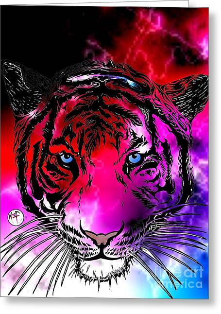 Justin Moore Digital Art Greeting Cards - Cosmic Storm Tiger Greeting Card by Justin Moore