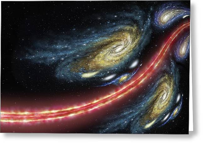 Double Image Greeting Cards - Cosmic string lensing, artwork Greeting Card by Science Photo Library