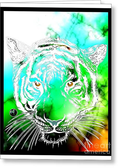 Justin Moore Digital Art Greeting Cards - Cosmic Tiger Invert Edition Greeting Card by Justin Moore