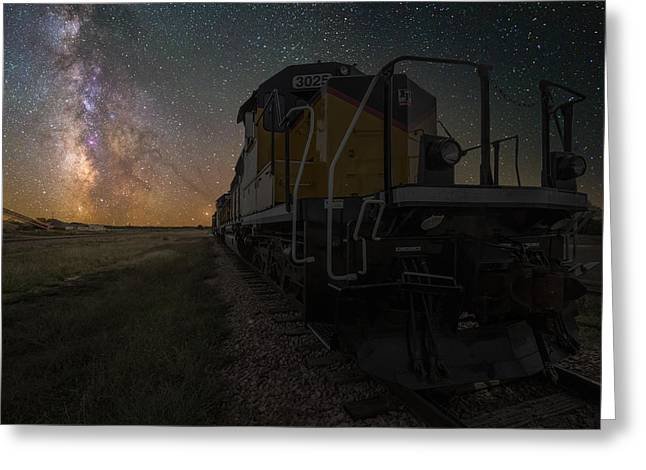 Astro Greeting Cards - Cosmic Train Greeting Card by Aaron J Groen