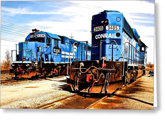 Cosmic Trains Greeting Card by Frozen in Time Fine Art Photography