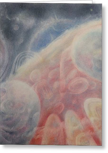 Mystical Landscape Pastels Greeting Cards - Cosmic View Greeting Card by Joel Rudin