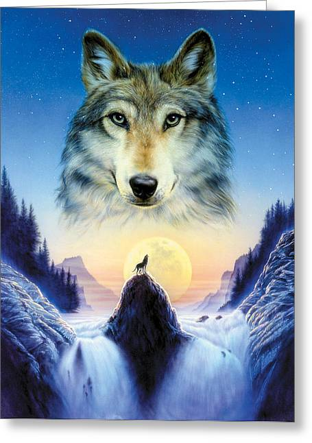 Howling Greeting Cards - Cosmic Wolf Greeting Card by Andrew Farley