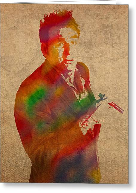 Cosmos Mixed Media Greeting Cards - Cosmo Kramer Seinfeld Watercolor Portrait on Worn Canvas Greeting Card by Design Turnpike