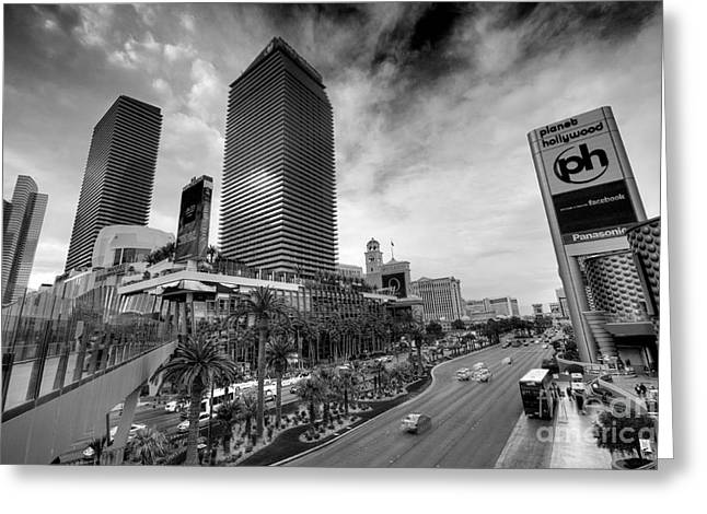 Ceasars Palace Greeting Cards - Cosmopolitan and Belagio in mono  Greeting Card by Rob Hawkins