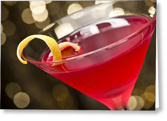 Sec Greeting Cards - Cosmopolitan Cocktail Greeting Card by Ulrich Schade