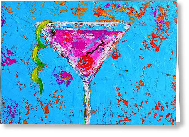 Saloons Greeting Cards - Cosmopolitan Martini Cherry Flavored Greeting Card by Patricia Awapara