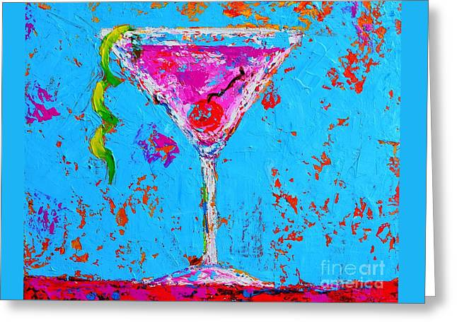Cosmopolitan Martini Cherry Flavored - Modern Art Greeting Card by Patricia Awapara