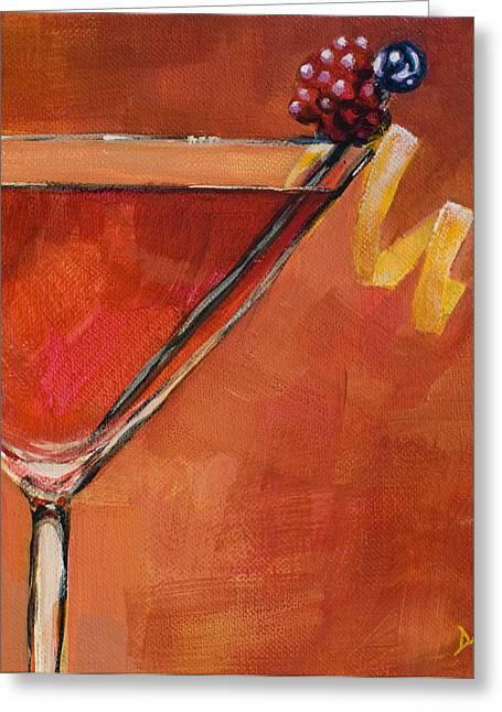 Martini Greeting Cards - Cosmopolitan Greeting Card by Sue  Darius